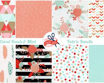 CORAL & MINT Fabric Bundle Fabric by the Yard Fat Quarter Stripe Fabric Triangle Fabric Quilting Fabric 100% Cotton Fabric Apparel Fabric
