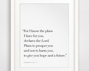 Jeremiah 29 11, For I Know The Plans I Have For You, Bible Verse Sign, Bible Verse Poster, Scripture Signs, Scripture Poster, Jeremiah