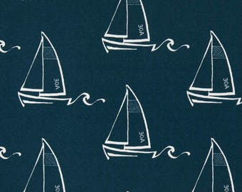 HUGE SALE Premier Prints Seaton Oxford Indoor/Outdoor Fabric, Navy and White Nautical Outdoor Fabric, Sailing Boat Fabric By the Yard