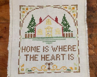 """1940's """"Home is Where the Heart"""" is Sampler 10x11"""""""