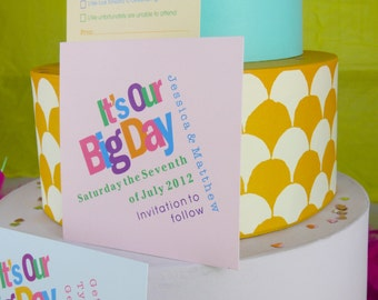 Bright and Bold Personalised Wedding Save the Date