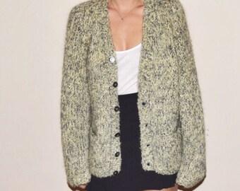 SALE Vintage 60s Italian Mohair Cardigan Sweater by Duca DiSiena