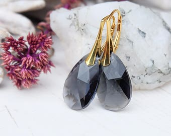 24k gold plated Swarovski crystals earrings Grey Swarovski jewellery Graphite wedding bridesmaids earrings Gold teardrop earrings 1