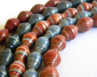 Paper Bead Jewelry Supplies - Paper Beads - Hand painted - Lot of 50 - #1226