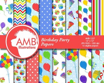 Birthday Papers, Birthday Party digital papers, balloons papers, party hats scrapbook papers, Commercial Use, AMB-1237