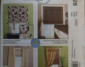 McCalls M5828, Energy saving window dressings, Shades, blocked panels,  UNCUT sewing pattern, craft supplies