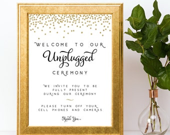 Unplugged Ceremony Sign gold black confetti wedding signage INSTANT DOWNLOAD printable digital glitter
