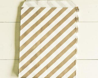 SALE Paper Bags in Gray & White Stripes - Set of 20 - 5x7 Party Favor Kraft Gift Wrapping Packaging Diagonal Classic Merchandise