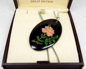 Vintage Boxed Glencraft Made in Edinburgh Enamel Cherry Blossom Pendant Necklace