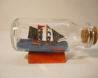 Vintage Small Glass Ship in the Bottle with Cork n147