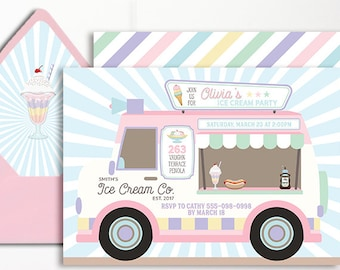 Ice Cream Invitation Truck Ice Cream Party Parlor Parlour Printable Pink Purple Mint Van Ice Cream Social Girls Birthday 1st 2nd 3rd 4th 5th