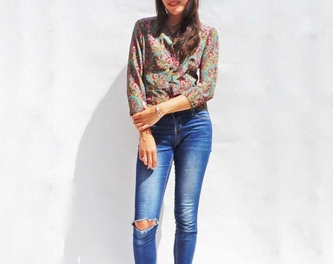 Long Sleeve Blouse, Vintage 70s Boho Paisley Multi-Coloured Shirt, Collarless Shirt, Floral Shirt, Womens Floral Vintage Shirt, 1970s Shirt