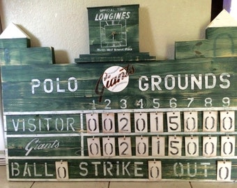 Polo Grounds New York Giants Sports Baseball Team scoreboard, Vintage style