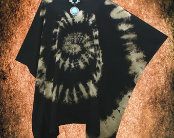 Vintage Bleached Spiral Hand dyed Plus Size Blouse Cover Up Poncho Top Tunic