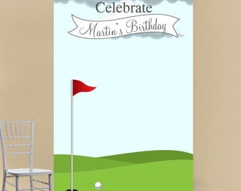 Golf Course Personalized Photo Booth Backdrop (E-JM77052)
