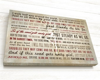 Dave Matthews Band, Custom Song Lyrics, DMB, Steady As We Go, Wall Art,  Personalized Gift, Husband Wife Gift, Anniversary, Fire Dancer