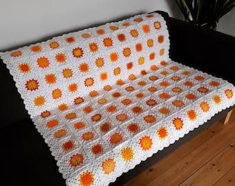 Throw Blanket White Blanket Sofa Throw Orange Throw Blanket Yellow Throw Blanket Orange Blanket Yellow Blanket FREE SHIPPING