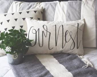 Our Nest Lumbar Throw Pillow Cover 12x20 - Free Shipping