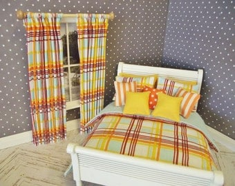 Handmade 1:12 scale dolls house 10 piece bedding set for a double bed vibrant modern stripes