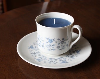Teacup candle, Royal Doulton 'Galaxy' design, features delicate blue flowers and leaves, filled with scented blue wax, Birthday, Christmas