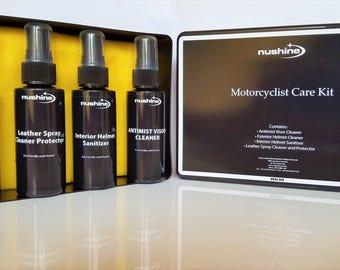 Nushine Motorcyclist Care Kit for Helmet and Leathers (Eco-friendly) - Ideal Gift