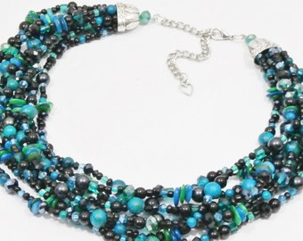 Christmas Sale, turquoise statement necklace, black,gemstone necklace,crystal multi strand, beaded jewelry, gift,free matching earrings