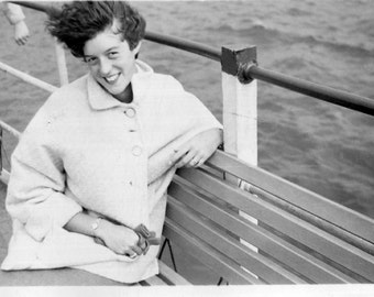 Vintage Photo..Windy Day on the Ferry, 1950's Original Found Photo, Vernacular Photography