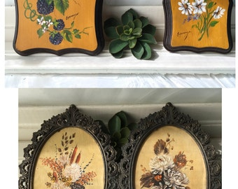 Vintage hand painted flower paintings