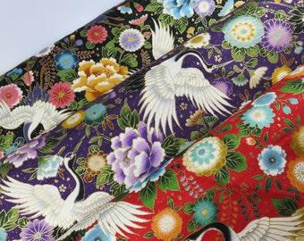 Half Yard - Japanese Kimono Style Crane Flower Gold Metallic Fabric (Japan Cosmo)
