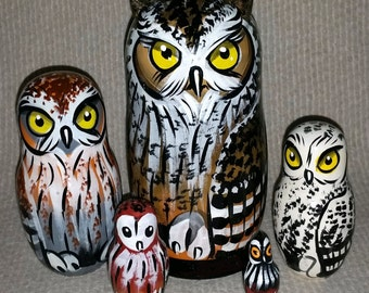 Owls on Five Russian Nesting Dolls. Wild Life. #12
