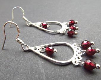 Long red Garnet  Gemstone Earrings ear hooks 925 Silver ,jewelry,birthday,present, giftidea, engagement,gift,  Birthstone june