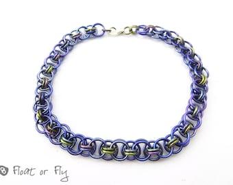 Helm Chain Maille Niobium Bracelet - Blue