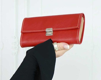 red leather wallet,  red womens wallet, red wallet clutch, red smartphone wallet, leather wallets for women, unique womens wallet