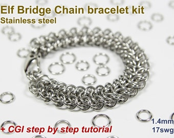 Elf Bridge Chain Bracelet Kit, Chainmaille Kit, Stainless Steel, Chainmail Kit, Jump Rings, Maille Tutorial, Chainmaille Tutorial