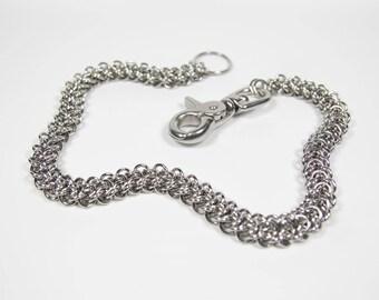 Elfweave Wallet Chain, Stainless Steel, Chainmaille Biker Wallet Chain, Chainmail Chain, Trouser Chain, Biker Chain Belt, Swivel Clasp