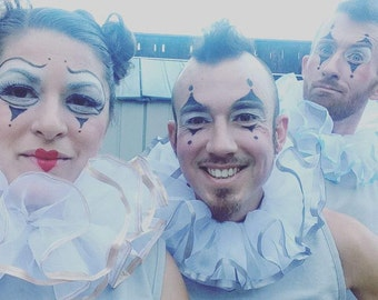 Circus Neck Ruff - Ivory, White, Black - Victorian Costume - Burlesque Costume - Clown Costume