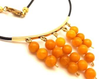 Amber Baltic Necklace Genuine Natural 3.21 Gr Elegant Round Egg Yolk Color