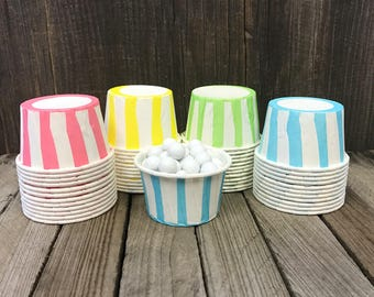 48 Rainbow Pastel Stripe Candy Cups-- Nut Cups--Birthday Party--Favor Cups--Baby Shower--Yellow, Pink, Blue, Lime Candy Cups
