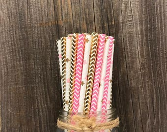 100 Gold and Pink Heart and Chevron Foil Paper Straws- Birthday, Wedding Party Supply- Princess Paper Goods- Drinking Straws- Tableware