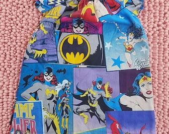 Superwoman batgirl superhero baby toddler girl peasant dress, kids girls superwoman batgirl superhero dress, superhero girls outfit dress