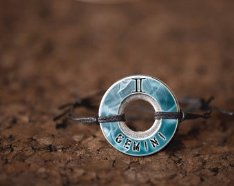 Zodiac Gemini Resin Coated Washer Bracelet Astrology