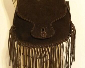 Vintage Brown Suede Fringe Purse