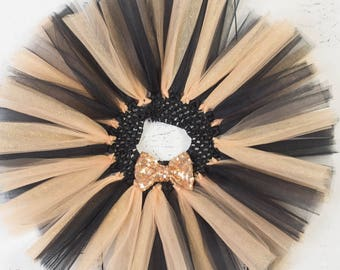 BLACK GOLD GLITTER Tutu,Girl Tutu,Baby Tutu,Infant Tutu,Newborn Tutu,Toddler Tutu,Birthday Tutu with Sequin Bow,Cake Smash Tutu