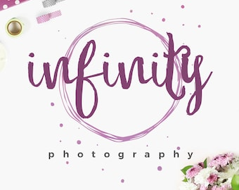 Custom Boutique Premade Photography Studio Logo and Watermark Design with Hand-Drawn Calligraphy Text & Circle Graphic - INF108LD