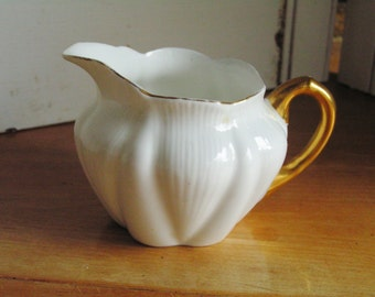 Vintage Shelley China REGENCY Creamer Cream Pitcher Milk Jug English Bone China White and Gold Vintage Tea Party