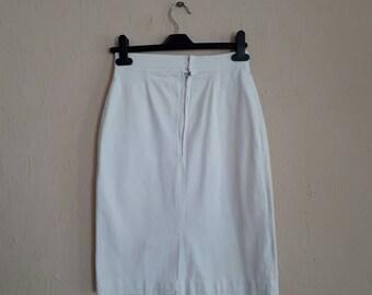 Handmade skirt vintage skirt denim skirt 1980's vintage skirt knee length  white summer skirt size 6/8