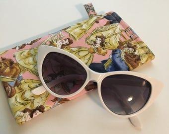 Disney-Inspired Beauty and the Beast Handmade Fabric Sunglass Slider Pouch