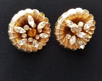 Vintage Rhinestone and Gold Tone Earrings #26