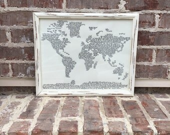 Hand Lettered- Story of Creation- Genesis 1-2:3- Hand Drawn World Map- Calligraphy- Framed Wall Art- White Distressed Frame- Black Lettering