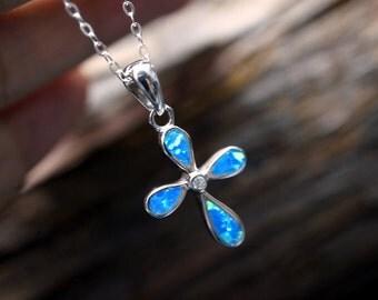 Opal Cross Necklace - Full Sterling Silver Cross Pendant - Blue Fire Opal Necklace - Tiny Blue Stone Cross Necklace - Blue Opal Pendant